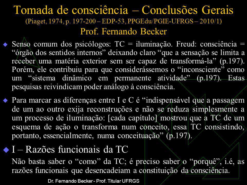 Tomada de consciência – Conclusões Gerais (Piaget, 1974, p. 197-200 – EDP-53, PPGEdu/PGIE-UFRGS – 2010/1) Prof. Fernando Becker Para marcar as diferen