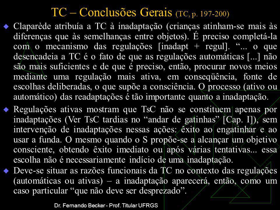 TC – Conclusões Gerais (TC, p. 197-200) Claparède atribuía a TC à inadaptação (crianças atinham-se mais às diferenças que às semelhanças entre objetos