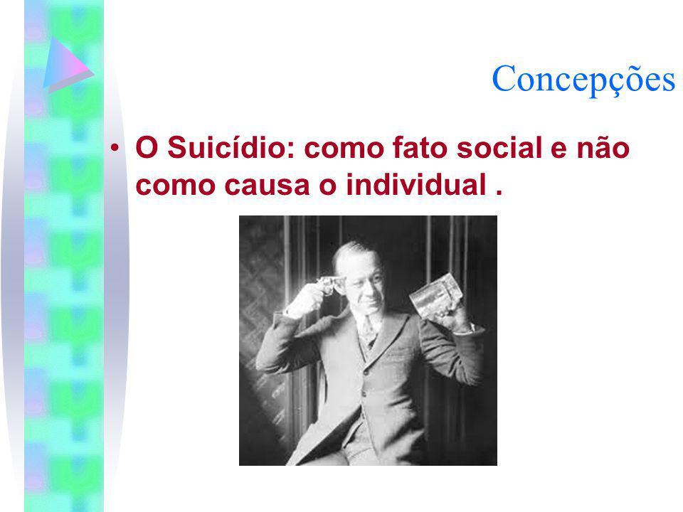 Concepções O Suicídio: como fato social e não como causa o individual.