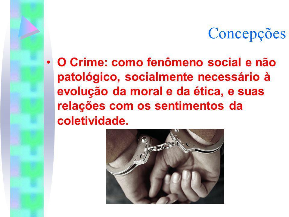 Concepções O Crime: como fenômeno social e não patológico, socialmente necessário à evolução da moral e da ética, e suas relações com os sentimentos d
