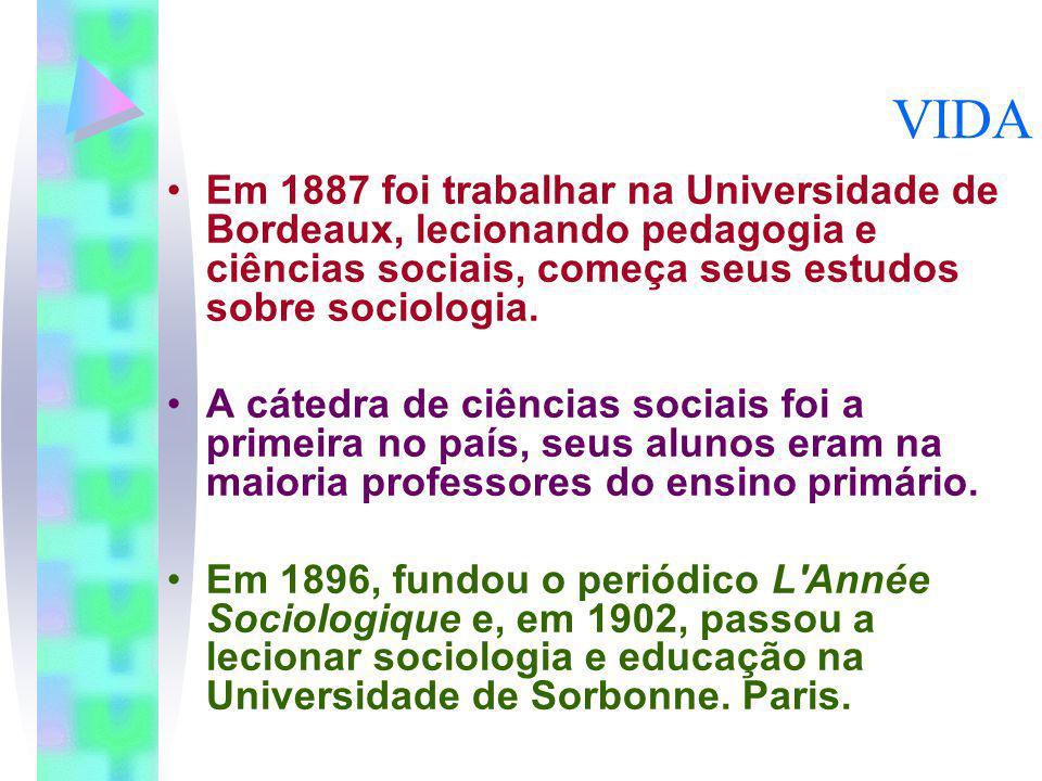 VIDA Em 1887 foi trabalhar na Universidade de Bordeaux, lecionando pedagogia e ciências sociais, começa seus estudos sobre sociologia. A cátedra de ci