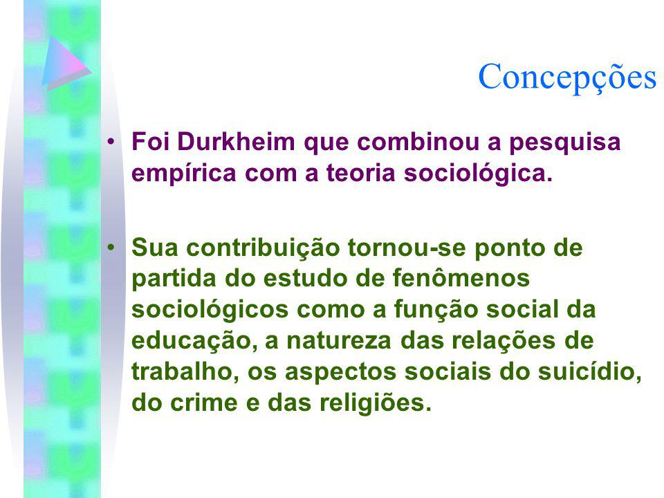 Concepções Foi Durkheim que combinou a pesquisa empírica com a teoria sociológica. Sua contribuição tornou-se ponto de partida do estudo de fenômenos