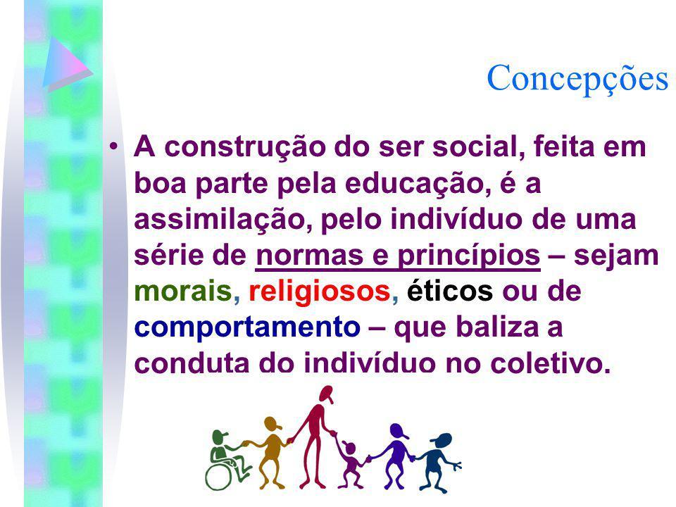 Concepções A construção do ser social, feita em boa parte pela educação, é a assimilação, pelo indivíduo de uma série de normas e princípios – sejam m