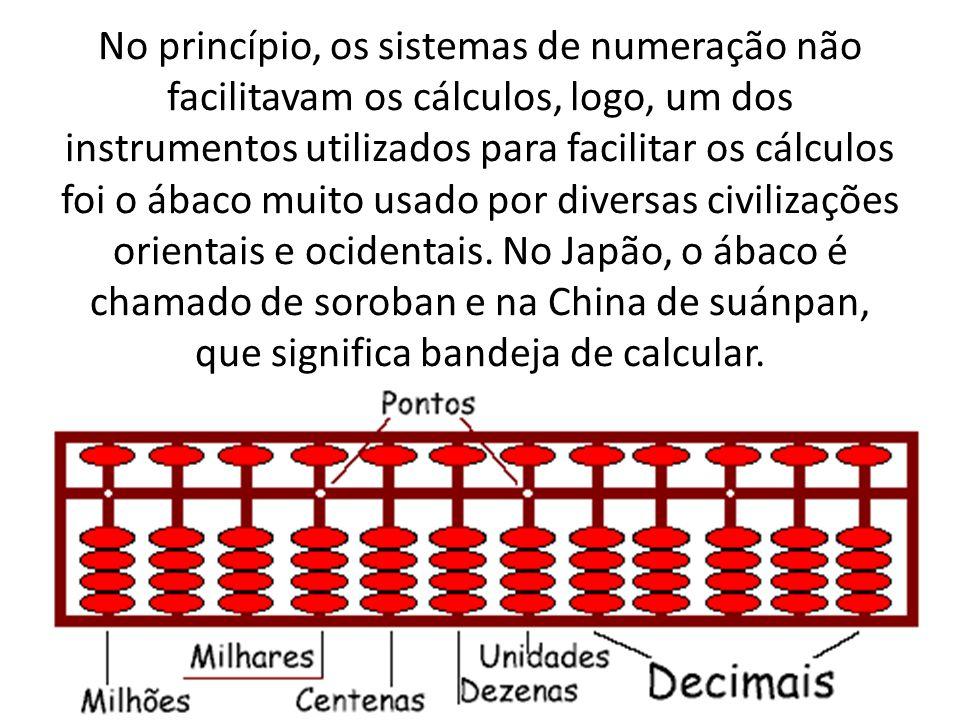 No princípio, os sistemas de numeração não facilitavam os cálculos, logo, um dos instrumentos utilizados para facilitar os cálculos foi o ábaco muito