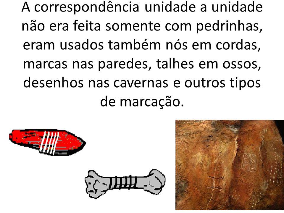 A correspondência unidade a unidade não era feita somente com pedrinhas, eram usados também nós em cordas, marcas nas paredes, talhes em ossos, desenh