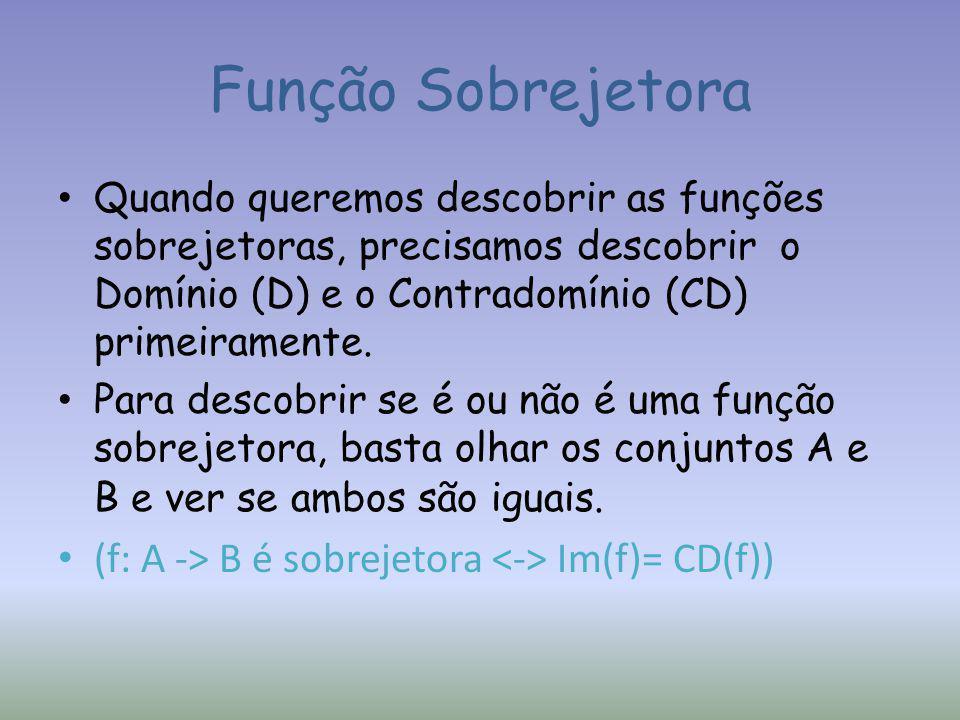 Função Sobrejetora Quando queremos descobrir as funções sobrejetoras, precisamos descobrir o Domínio (D) e o Contradomínio (CD) primeiramente.