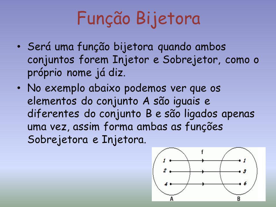 Função Bijetora Será uma função bijetora quando ambos conjuntos forem Injetor e Sobrejetor, como o próprio nome já diz.