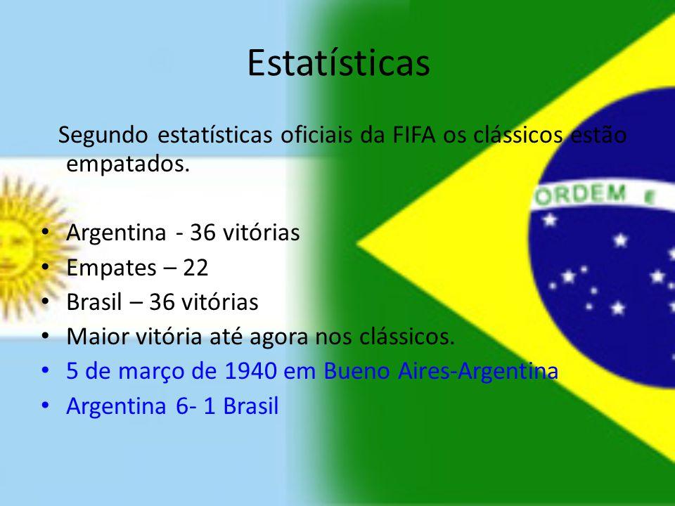 Estatísticas Segundo estatísticas oficiais da FIFA os clássicos estão empatados. Argentina - 36 vitórias Empates – 22 Brasil – 36 vitórias Maior vitór