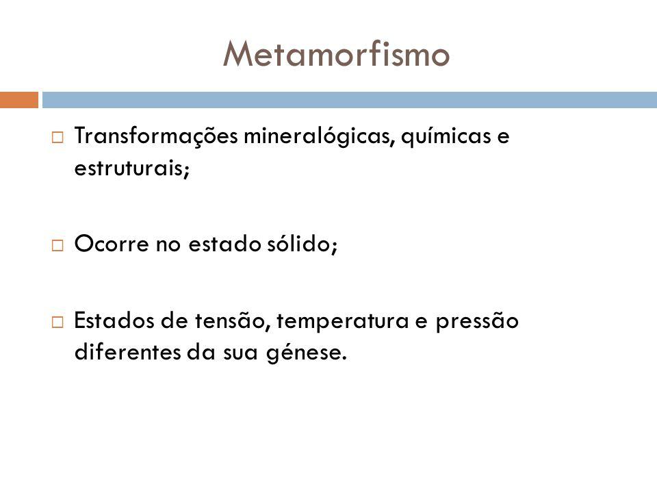 Metamorfismo Transformações mineralógicas, químicas e estruturais; Ocorre no estado sólido; Estados de tensão, temperatura e pressão diferentes da sua génese.