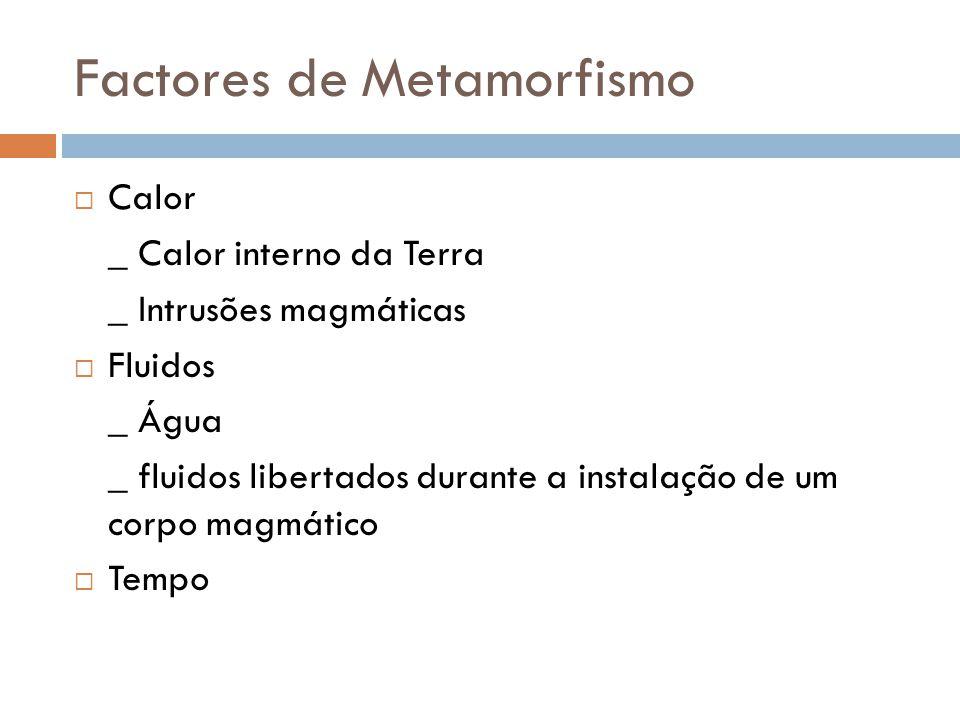 Factores de Metamorfismo Calor _ Calor interno da Terra _ Intrusões magmáticas Fluidos _ Água _ fluidos libertados durante a instalação de um corpo ma