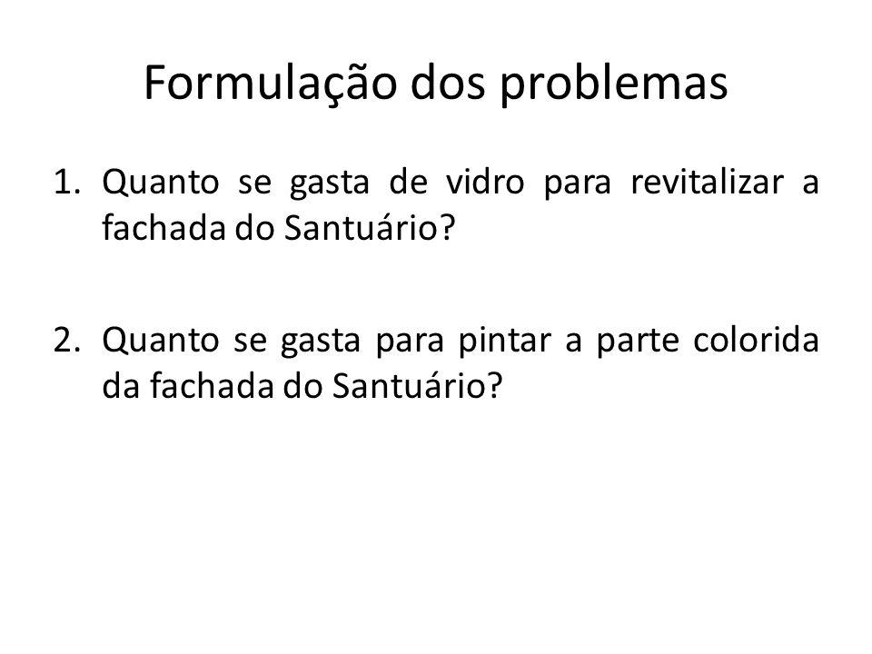 Formulação dos problemas 1.Quanto se gasta de vidro para revitalizar a fachada do Santuário.