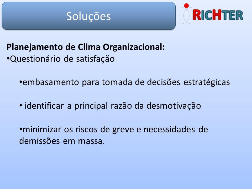Soluções Planejamento de Clima Organizacional: Questionário de satisfação embasamento para tomada de decisões estratégicas identificar a principal raz