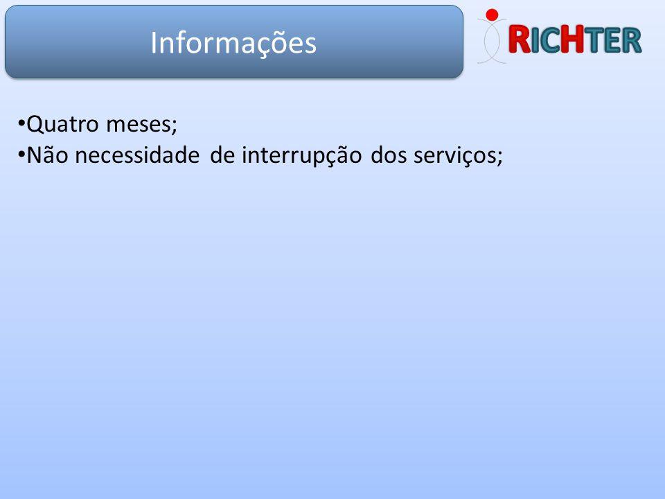 Informações Quatro meses; Não necessidade de interrupção dos serviços;