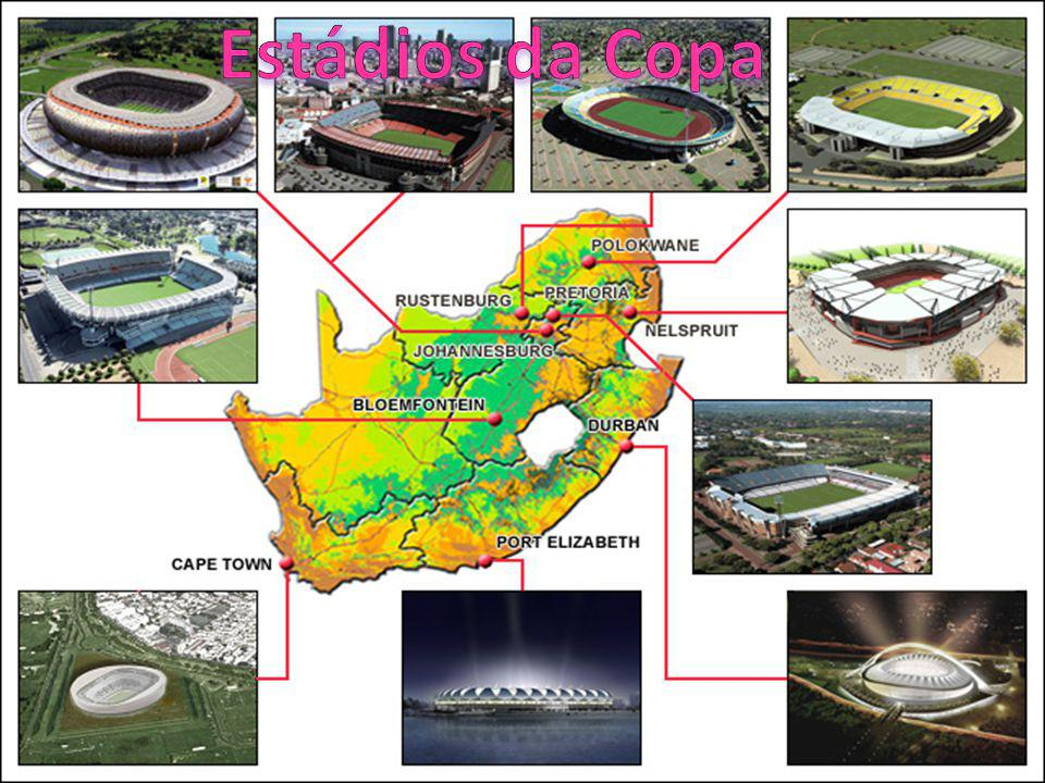 CidadeEstádioCapacidade Cidade do CaboGreen Point Stadium 70.000 BloemfonteinFree State Stadium48.000 JohanesburgoSoccer City95.000 JohanesburgoEllis Park Stadium60.000 DurbanMoses Mabhida Stadium70.000 Nelspruit Mbombela Stadium43.000 PolokwanePeter Mokaba Stadium46.000 Port Elizabeth Nelson Mandela Bay Stadium 50.000 PretóriaLoftus Versfeld Stadium52.000 RustenburgoRoyal Bafokeng Stadium42.000