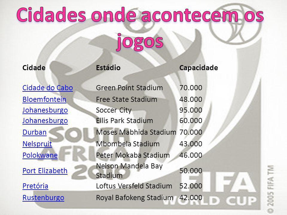 CidadeEstádioCapacidade Cidade do CaboGreen Point Stadium 70.000 BloemfonteinFree State Stadium48.000 JohanesburgoSoccer City95.000 JohanesburgoEllis