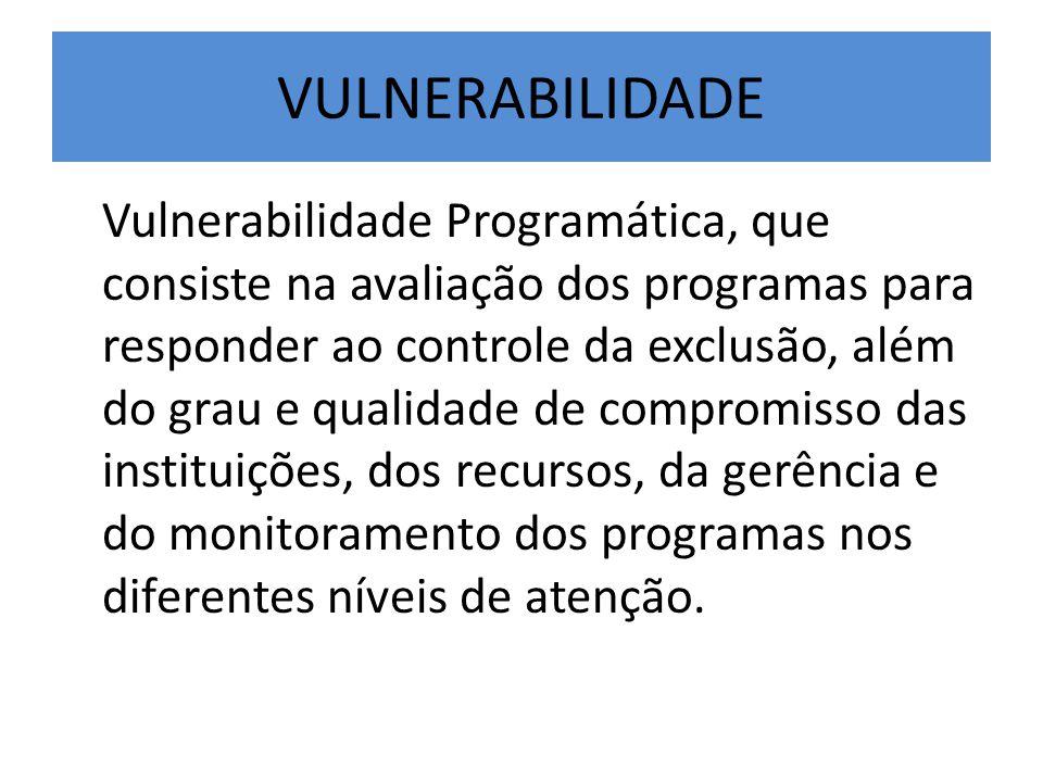 VULNERABILIDADE Vulnerabilidade Programática, que consiste na avaliação dos programas para responder ao controle da exclusão, além do grau e qualidade