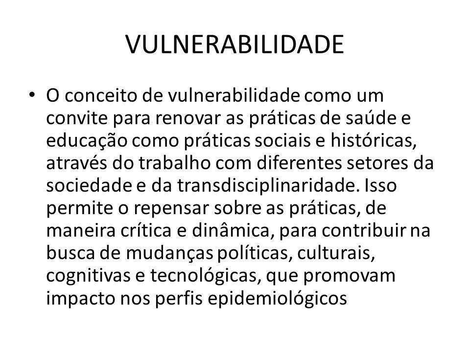 VULNERABILIDADE O conceito de vulnerabilidade como um convite para renovar as práticas de saúde e educação como práticas sociais e históricas, através