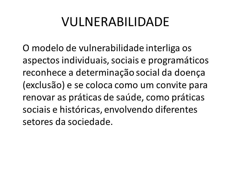 VULNERABILIDADE O modelo de vulnerabilidade interliga os aspectos individuais, sociais e programáticos reconhece a determinação social da doença (excl