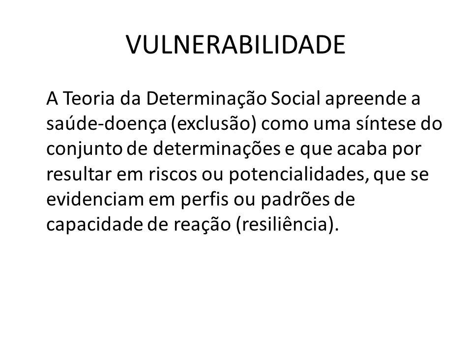 VULNERABILIDADE A Teoria da Determinação Social apreende a saúde-doença (exclusão) como uma síntese do conjunto de determinações e que acaba por resul