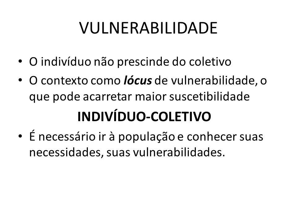 VULNERABILIDADE O indivíduo não prescinde do coletivo O contexto como lócus de vulnerabilidade, o que pode acarretar maior suscetibilidade INDIVÍDUO-C