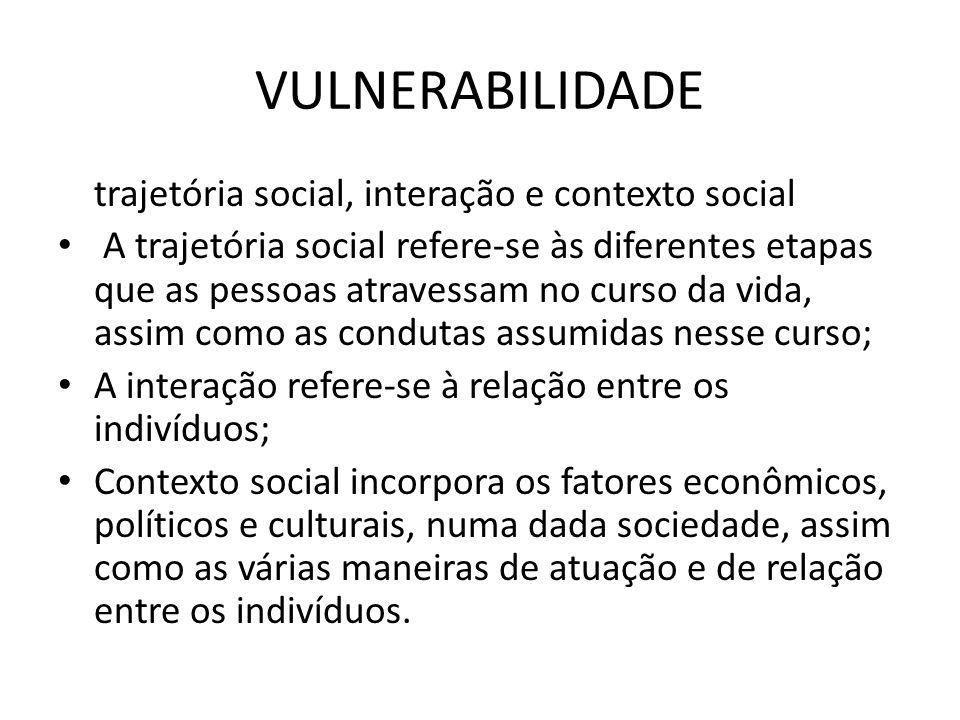 VULNERABILIDADE trajetória social, interação e contexto social A trajetória social refere-se às diferentes etapas que as pessoas atravessam no curso d