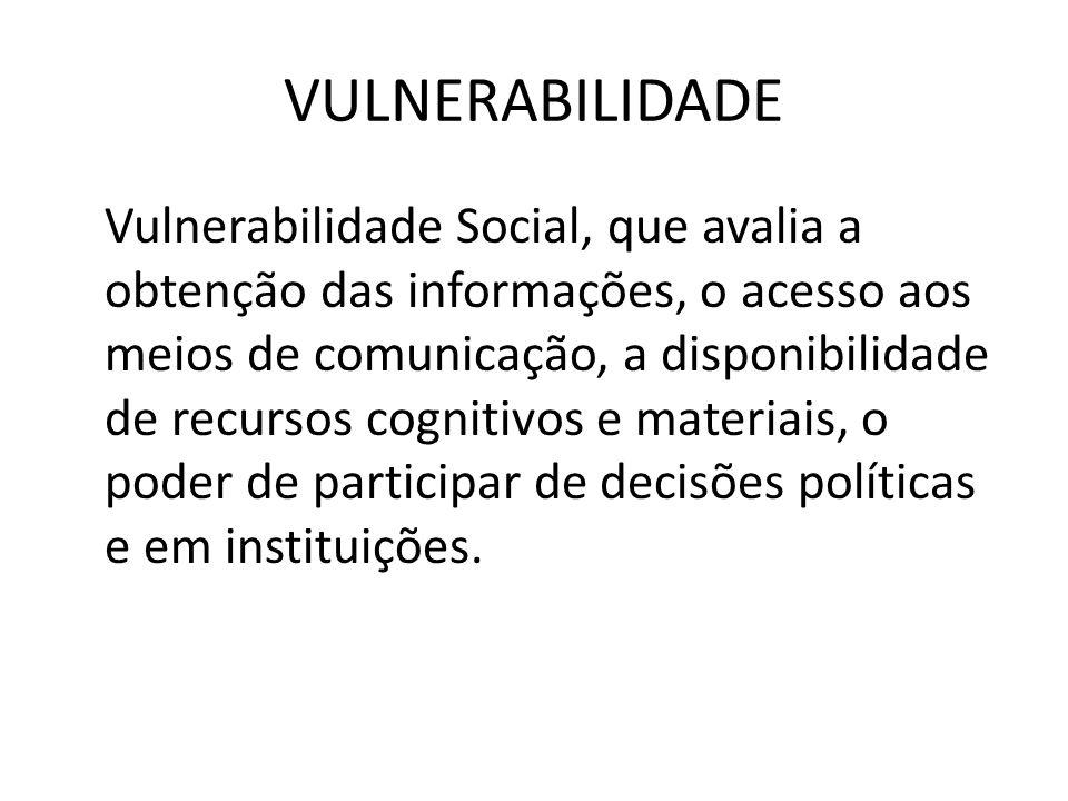 VULNERABILIDADE Vulnerabilidade Social, que avalia a obtenção das informações, o acesso aos meios de comunicação, a disponibilidade de recursos cognit