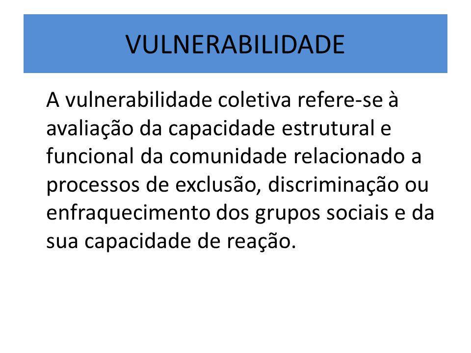 VULNERABILIDADE A vulnerabilidade coletiva refere-se à avaliação da capacidade estrutural e funcional da comunidade relacionado a processos de exclusã