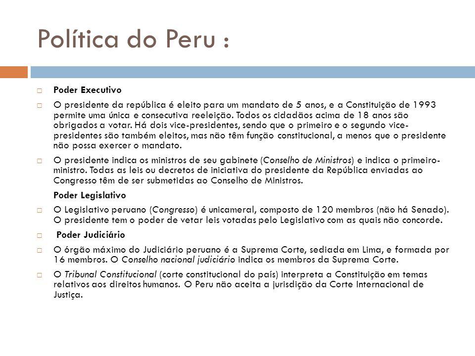 Política do Peru : Poder Executivo O presidente da república é eleito para um mandato de 5 anos, e a Constituição de 1993 permite uma única e consecutiva reeleição.