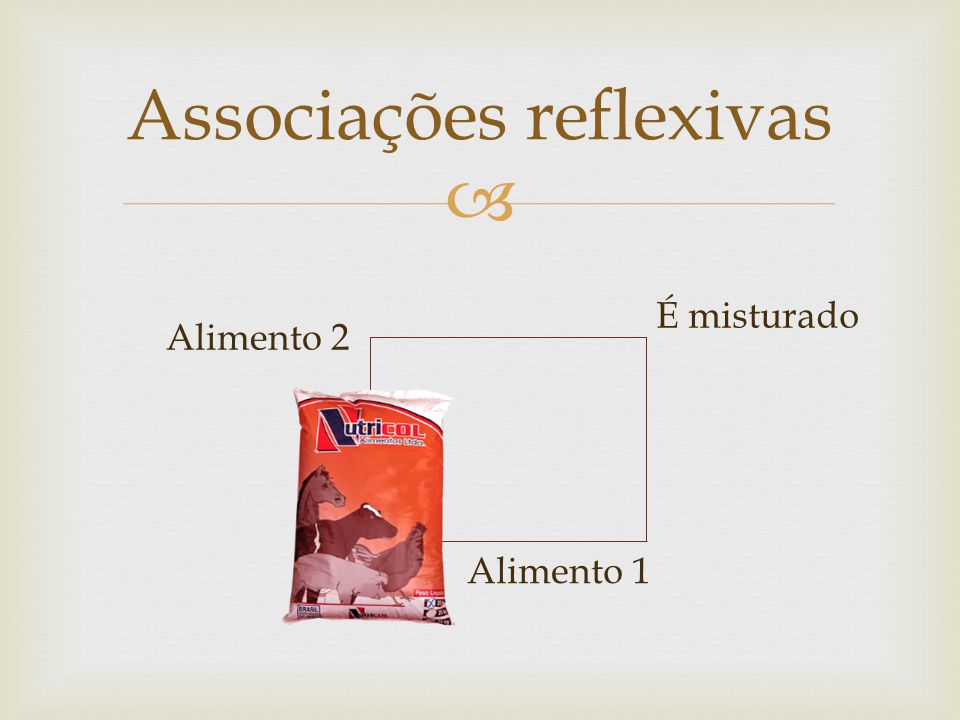 Associações reflexivas É misturado Alimento 2 Alimento 1