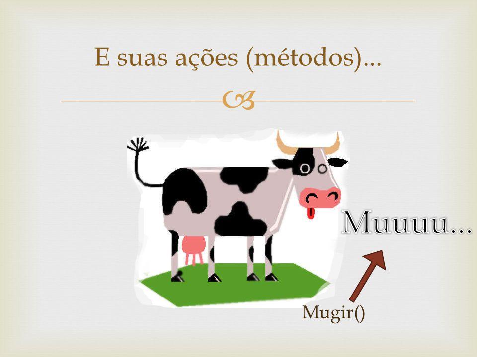 E suas ações (métodos)... Mugir()