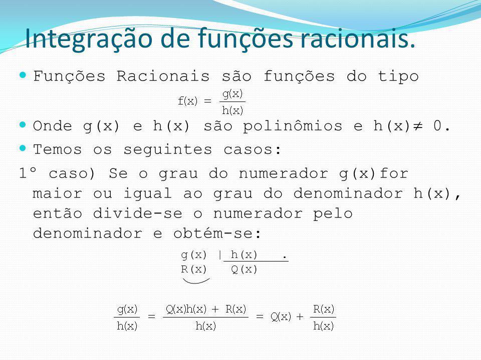 Integração de funções racionais. Funções Racionais são funções do tipo Onde g(x) e h(x) são polinômios e h(x) 0. Temos os seguintes casos: 1º caso) Se