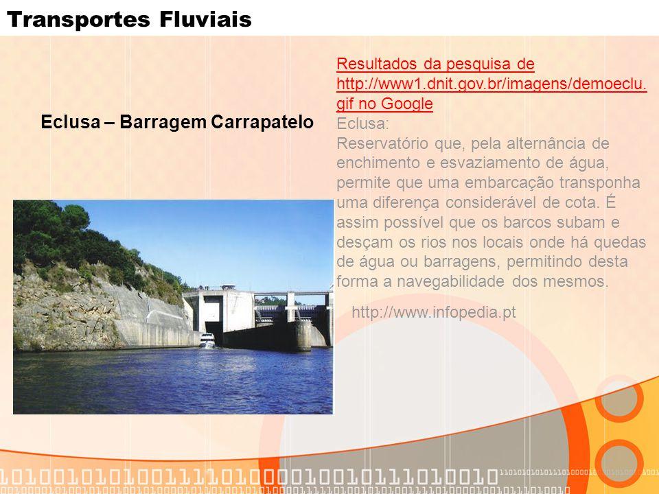 Transportes Fluviais Eclusa – Barragem Carrapatelo Resultados da pesquisa de http://www1.dnit.gov.br/imagens/demoeclu. gif no Google Eclusa: Reservató