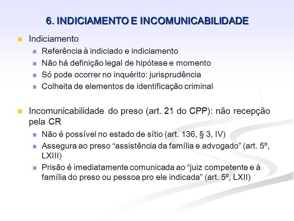 6. INDICIAMENTO E INCOMUNICABILIDADE Indiciamento Referência à indiciado e indiciamento Não há definição legal de hipótese e momento Só pode ocorrer n