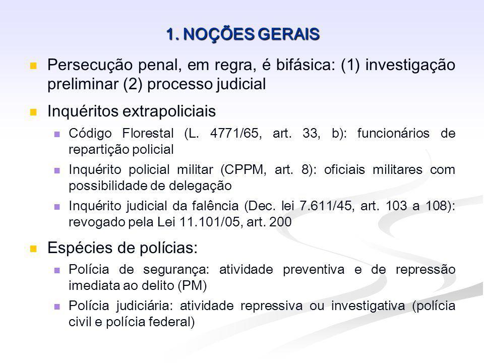 1. NOÇÕES GERAIS Persecução penal, em regra, é bifásica: (1) investigação preliminar (2) processo judicial Inquéritos extrapoliciais Código Florestal