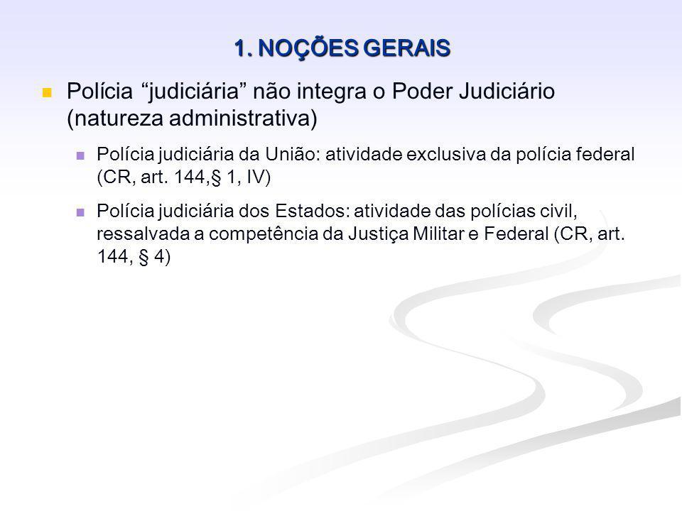 1. NOÇÕES GERAIS Polícia judiciária não integra o Poder Judiciário (natureza administrativa) Polícia judiciária da União: atividade exclusiva da políc
