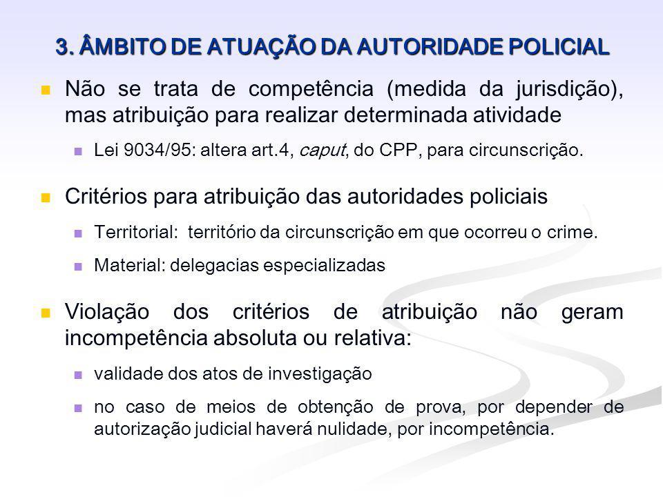 3. ÂMBITO DE ATUAÇÃO DA AUTORIDADE POLICIAL Não se trata de competência (medida da jurisdição), mas atribuição para realizar determinada atividade Lei
