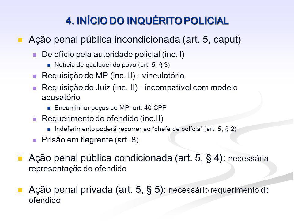 4. INÍCIO DO INQUÉRITO POLICIAL Ação penal pública incondicionada (art. 5, caput) De ofício pela autoridade policial (inc. I) Notícia de qualquer do p