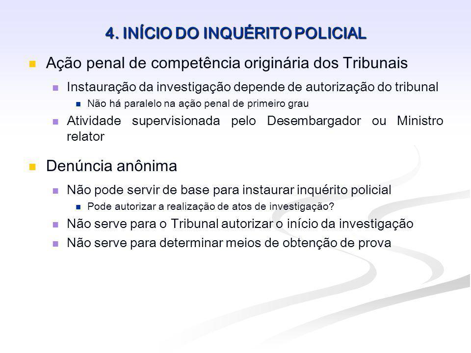 4. INÍCIO DO INQUÉRITO POLICIAL Ação penal de competência originária dos Tribunais Instauração da investigação depende de autorização do tribunal Não