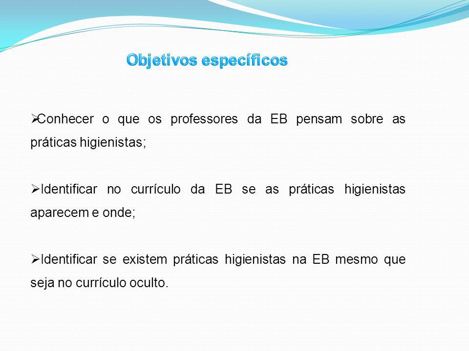Conhecer o que os professores da EB pensam sobre as práticas higienistas; Identificar no currículo da EB se as práticas higienistas aparecem e onde; I