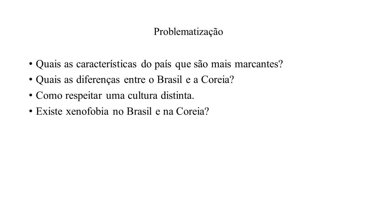 Problematização Quais as características do país que são mais marcantes? Quais as diferenças entre o Brasil e a Coreia? Como respeitar uma cultura dis