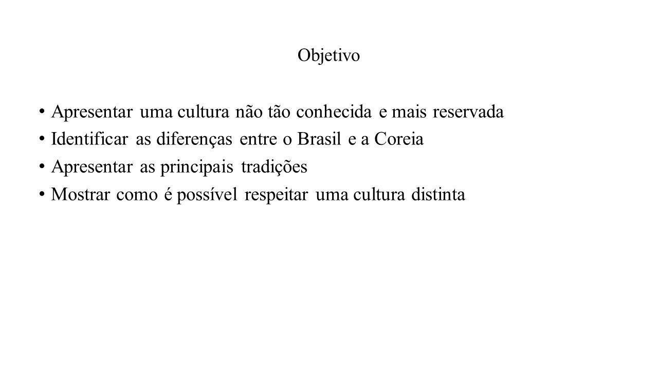 Objetivo Apresentar uma cultura não tão conhecida e mais reservada Identificar as diferenças entre o Brasil e a Coreia Apresentar as principais tradições Mostrar como é possível respeitar uma cultura distinta