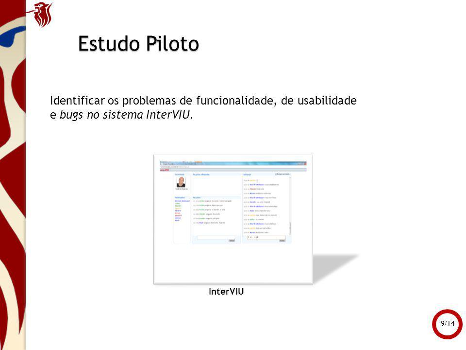 Estudo Piloto InterVIU Identificar os problemas de funcionalidade, de usabilidade e bugs no sistema InterVIU. 9/14