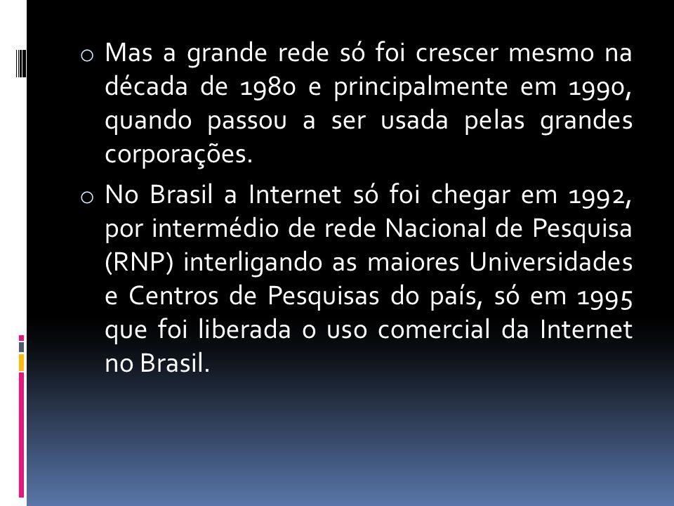 o Mas a grande rede só foi crescer mesmo na década de 1980 e principalmente em 1990, quando passou a ser usada pelas grandes corporações. o No Brasil