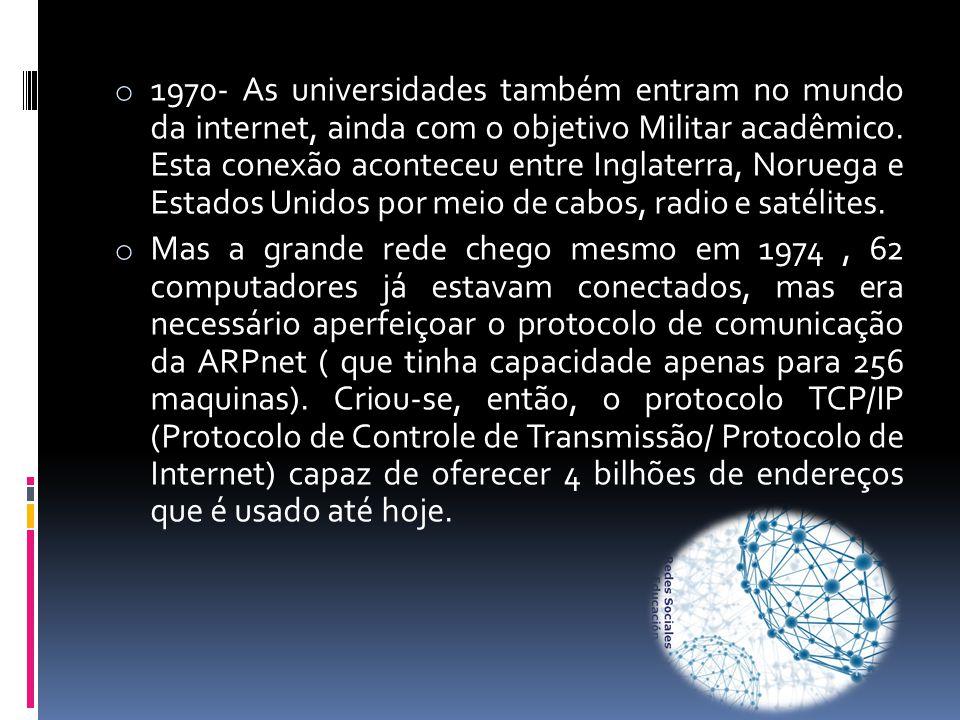 o 1970- As universidades também entram no mundo da internet, ainda com o objetivo Militar acadêmico. Esta conexão aconteceu entre Inglaterra, Noruega