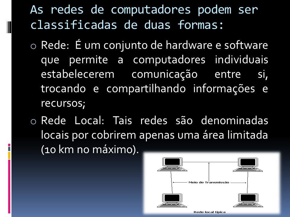 As redes de computadores podem ser classificadas de duas formas: o Rede: É um conjunto de hardware e software que permite a computadores individuais e