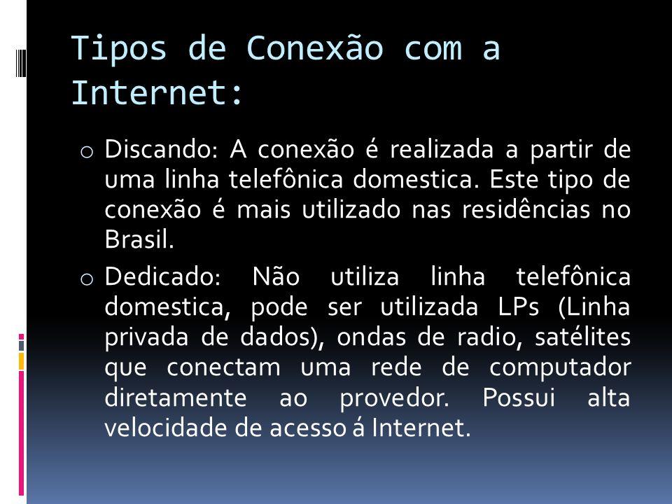 Tipos de Conexão com a Internet: o Discando: A conexão é realizada a partir de uma linha telefônica domestica. Este tipo de conexão é mais utilizado n