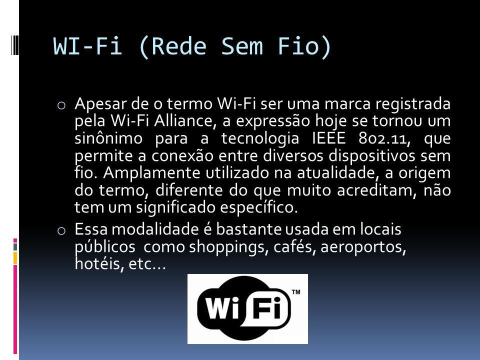 WI-Fi (Rede Sem Fio) o Apesar de o termo Wi-Fi ser uma marca registrada pela Wi-Fi Alliance, a expressão hoje se tornou um sinônimo para a tecnologia
