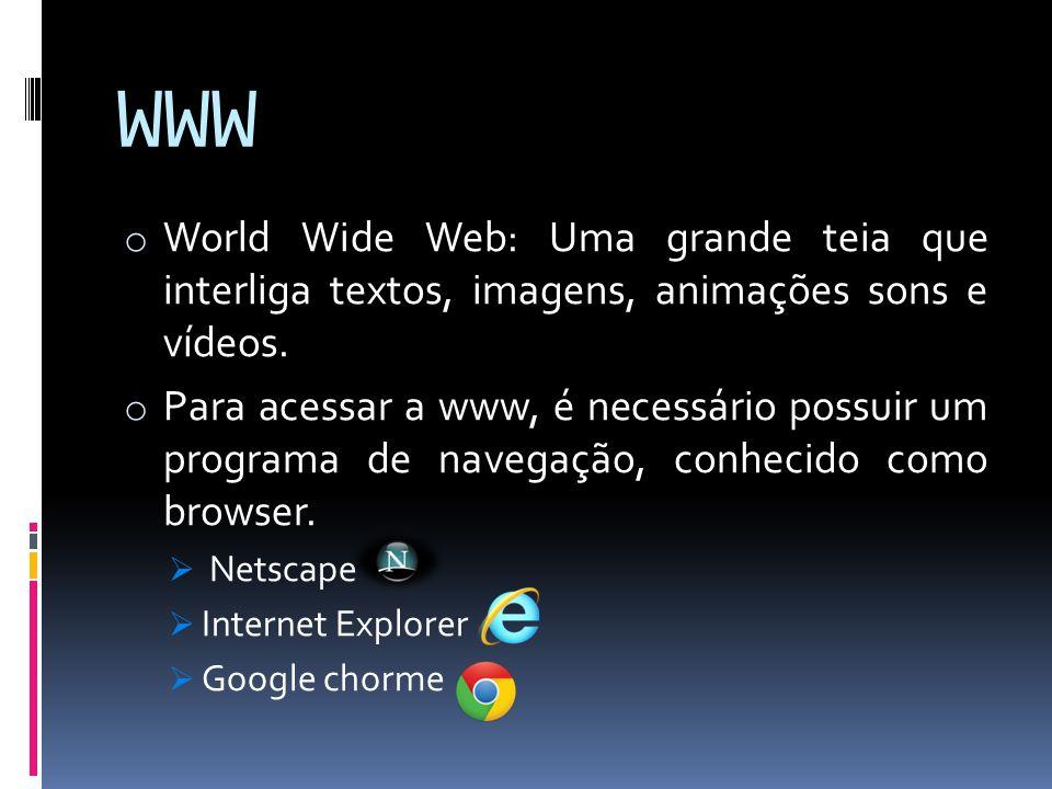 WWW o World Wide Web: Uma grande teia que interliga textos, imagens, animações sons e vídeos. o Para acessar a www, é necessário possuir um programa d