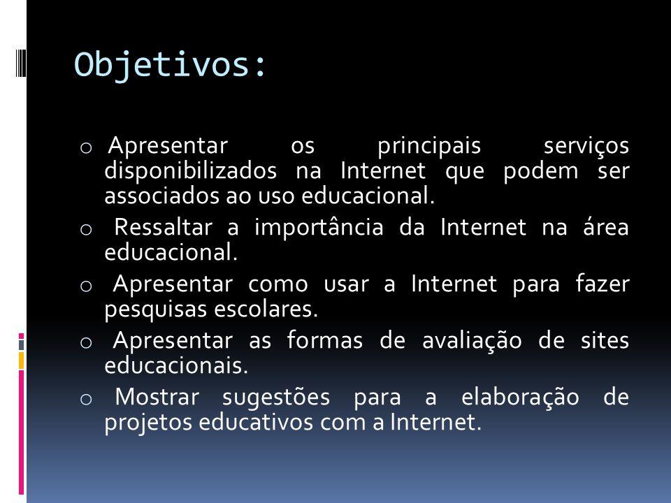 Objetivos: o Apresentar os principais serviços disponibilizados na Internet que podem ser associados ao uso educacional. o Ressaltar a importância da