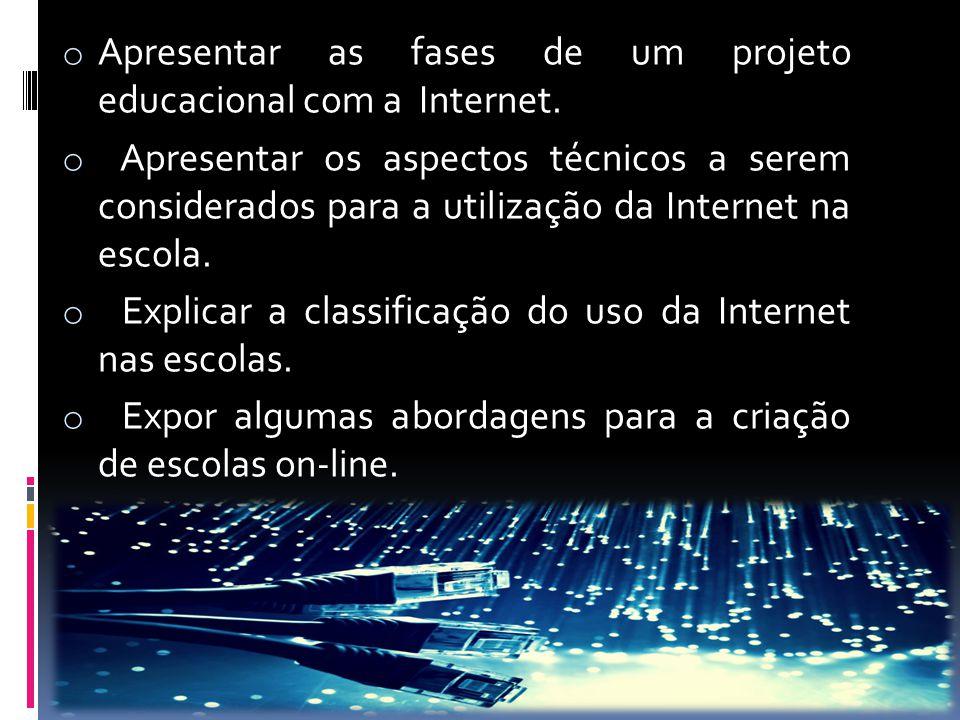 o Apresentar as fases de um projeto educacional com a Internet. o Apresentar os aspectos técnicos a serem considerados para a utilização da Internet n
